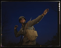 An American pineapple, of the kind the Axis finds hard to digest, is ready to leave the hand of an infantryman in training at Fort Belvoir, Va. American soldiers make good grenade throwers  (LOC) | by The Library of Congress