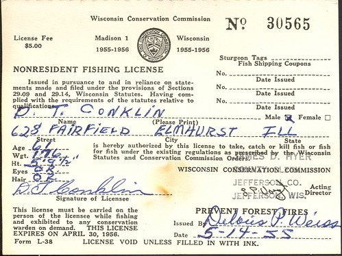 1955 wisconsin non resident fishing license don the for How much is a wisconsin fishing license