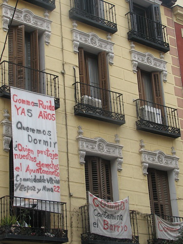 Protest Signs Hanging from Apartments in Madrid | by SeppySills