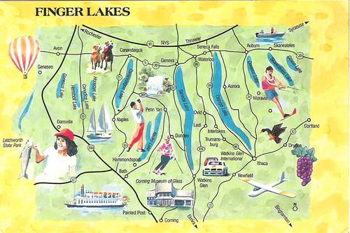 Finger Lakes Ny Map Postcard