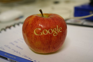 An apple with the logo of Google made with laser | by missha