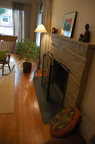 Complete Makeover Painted Fireplace Refinished Floor Zen Slate Hearth Interior Design With
