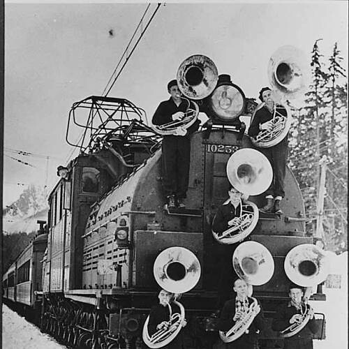 Members of Franklin High School band with train, Snoqualmie Pass | by UW Digital Collections