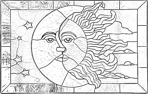 Sun And Moon Stained Glass Printable Patterns - Patterns Kid