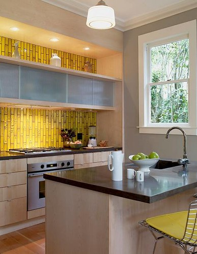 Modern yellow kitchen + Heath subway tiles + Bertoia barstools | by SarahKaron