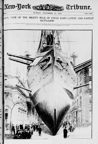 Novel view of the mighty bulk of Uncle Sam's latest and fastest battleship (LOC) | by The Library of Congress