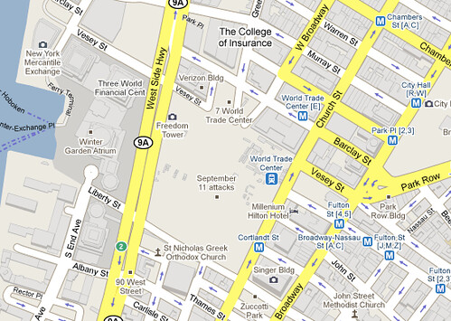 "Google Maps ""September 11 Attacks"" 