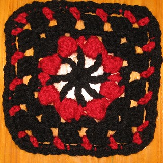 black/red swap block #14 - 84 from 99 Granny Squares | by Jennifer Ofenstein (sewhooked.com)
