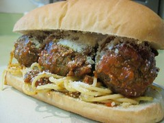 SPAGHETTI AND MEATBALL SANDWICH | by scottysauce