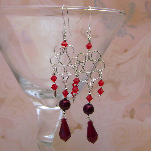 Red Crystal And Pearl Chandelier Earrings Red Freshwater