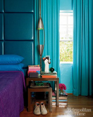 Jewel tones in the bedroom: Turquoise headboard & drapes + purple linens, from Metropolitan Home | by SarahKaron