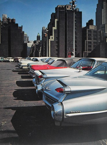 New york city early 1960s rooftop parking garage vintage c for Parking garage in nyc