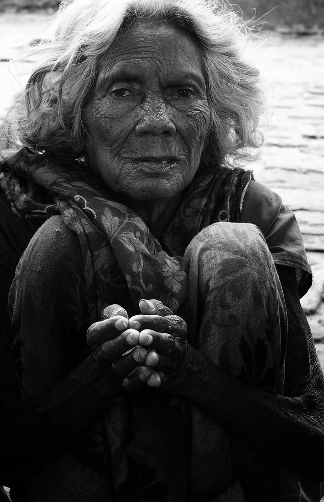 An Elderly Lady Begs In Bodhgaya
