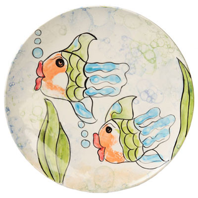 Fish Handprints With Bubble Background | by The Pottery Stop Gallery!