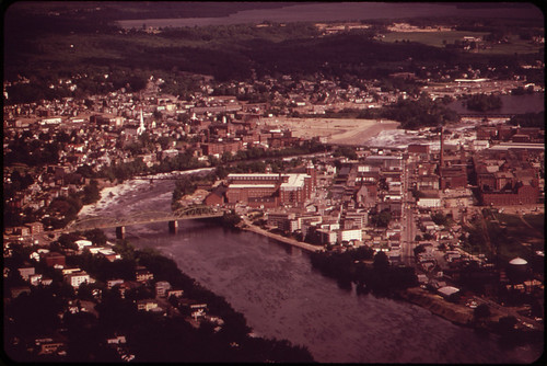 The Androscoggin River Flows between Lewiston (Eastern Shore) and Auburn (Western Shore) ... 06/1973 | by The U.S. National Archives