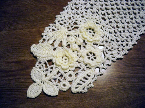 Irish Crochet Scarf motifs Made from fingering weight ...