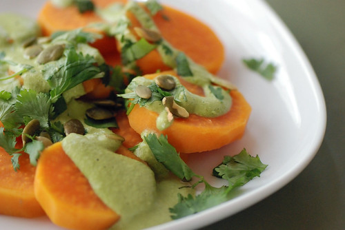 Sweet Potatoes with Creamy Pepita Cilantro Dressing | by swellvegan