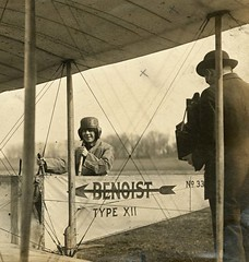 Unidentified woman sitting in the cockpit of a Benoist Type XII airplane, ca. 1912 | by Missouri History Museum