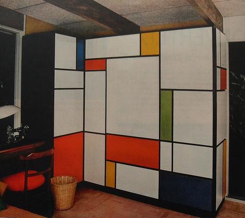 1960s Mondrian Desk Flip Down Foldout Bold Solid Color Vin