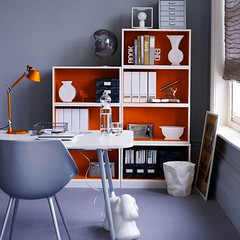 Ideas for the office: Gray paint + orange accents + playful details | by SarahKaron