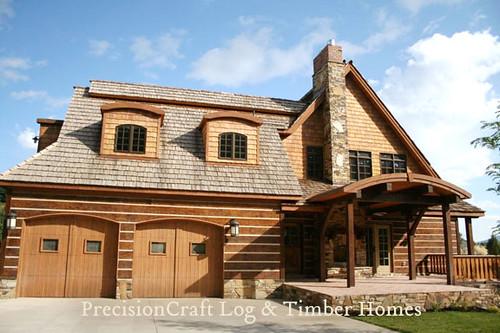 Hybrid log timber home exterior by precisioncraft log Timber frame hybrid house plans