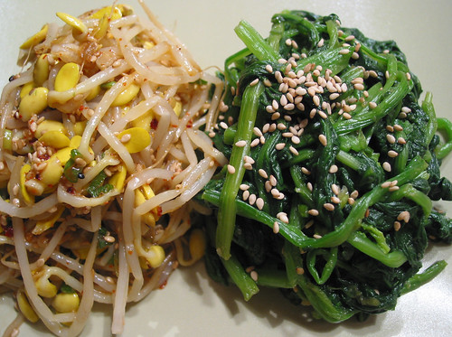 seasoned soy bean sprout & spinach side dish | by sierravalleygirl