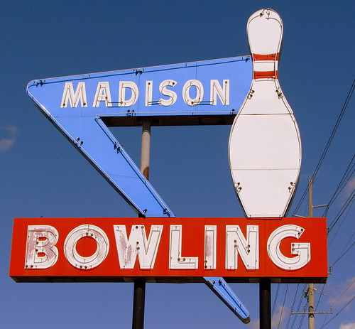 Madison Bowling neon sign