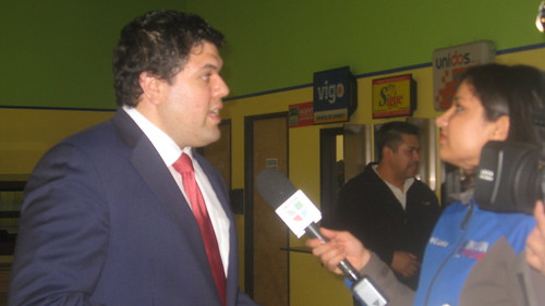 Commissioner David Molina with Delia Hernandez of Univision KUNP-TV