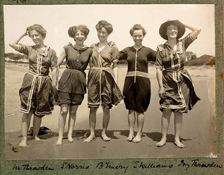 Women in bathing suits on Collaroy Beach, 1908,  photographed by Colin Caird | by State Library of New South Wales collection