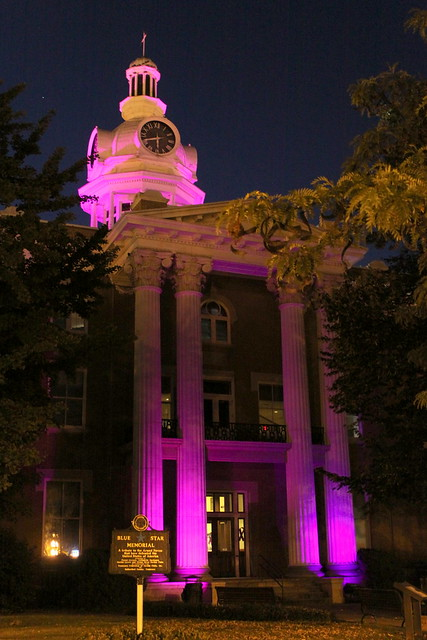 Rutherford Co. Courthouse, Purple for Alzheimer's Assoc. Walk