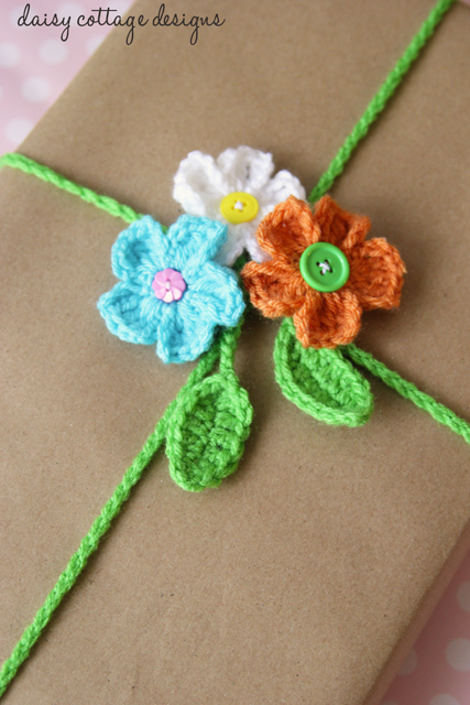 Crochet gift wrapping ideas are hard to come by, but this free crochet pattern from Daisy Cottage Designs offers a reusable option!