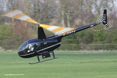 G-CDCV - 2004 build Robinson R44 Raven II, departing down Runway 27 at Barton