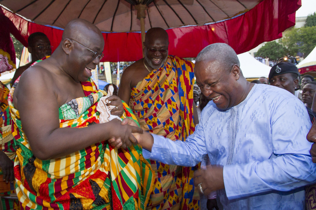 President John Dramani Mahama sharing pleasantries with Nana Akufo-Addo former flag bearer of the NPP