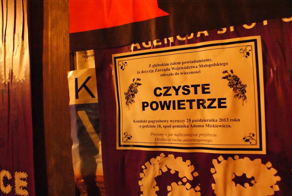 Acte de déces de l'air pur par le comité de lutte contre le smog à Cracovie.