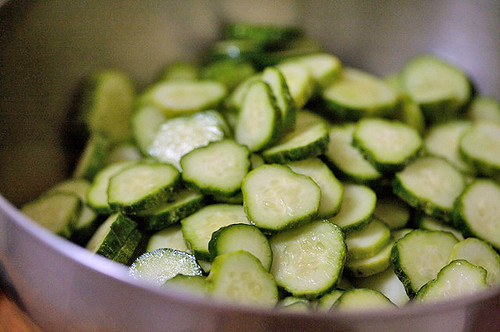 Sliced pickling cucumbers | by Elise Bauer