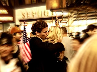 """THE KISS"" (on Election Night, Times Square, NYC) 