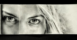 Erin's Eyes - Moleskine Charcoal Drawing | by wmwrose