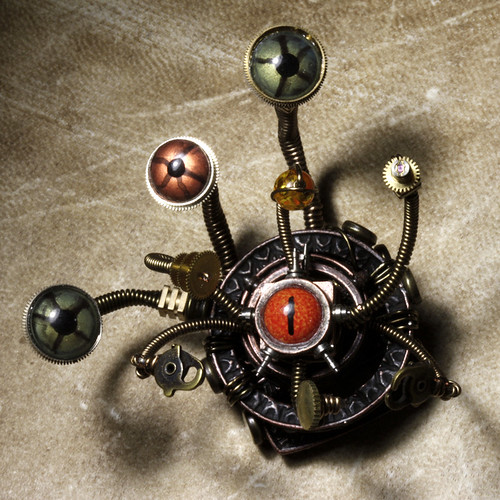 Steampunk D&D Beholder miniature sculpture #2 : Work in Progress : Front | by Catherinette Rings Steampunk