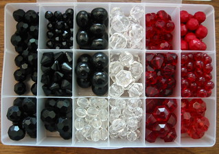 vintage beads for earrings - black white + red | by susanstars