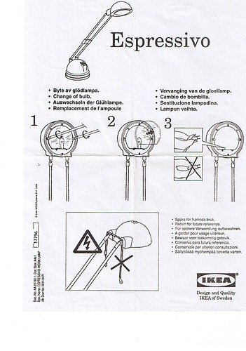 IKEA Espressivo Bulb Replacement Instructions | by sillygwailo