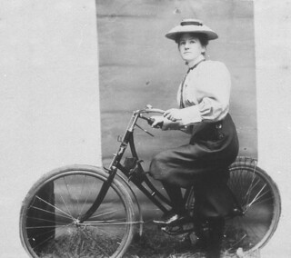 Annie Dawson Wallace with her bicycle. NB: Annie is wearing trousers - Sydney, NSW, 1899 | by State Library of New South Wales collection