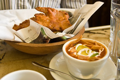 Tortilla Soup and Soy Battered Hell Fish | by domin0