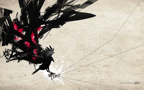 blackbird wallpaper for /3 | by ---stress---origami samurai!