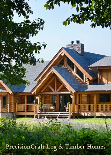 Log home front elevation custom log home by precisioncra for Unique front elevation