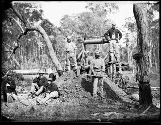 Gold minehead and seven miners, Gulgong, 1871-1875 / American & Australasian Photographic Company | by State Library of New South Wales collection