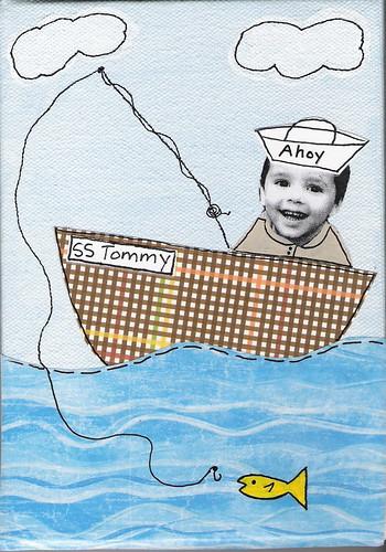 Mixed media art sailboat just some mixed media art with for Como dibujar un mural en la pared