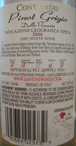 Contadino 2006 Pinot Grigio (back) | by 2 Guys Uncorked