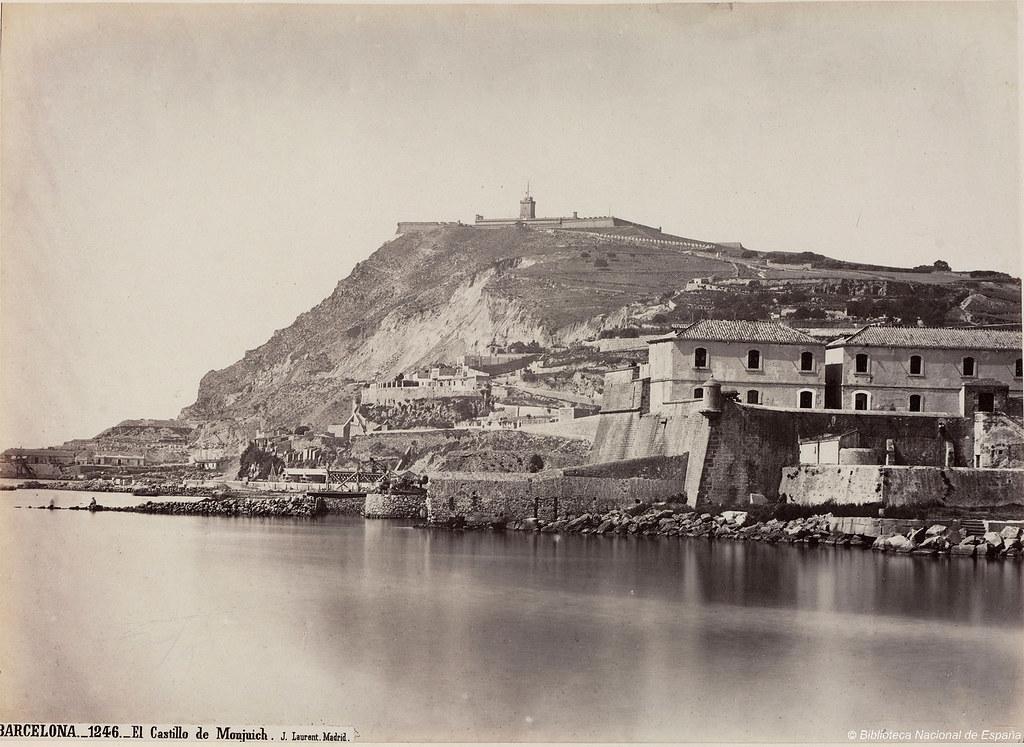 L'austère chateau de Montjuic à Barcelone en 1870.