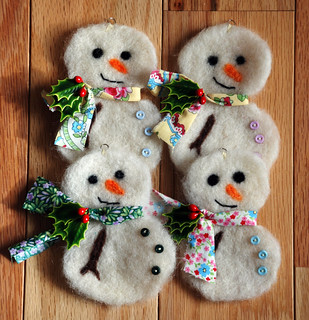 Needle Felted Snowman Ornaments | by Alanna George
