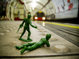 Toy soldiers in the Tube | by zhonnetiks